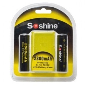 Soshine Li-ion 18650 Rechargeable Battery with Protected: 2800mAh 3.7V