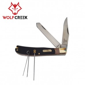 Wolf Creek 2 Blade Stockman Knife with Pick and Tweezers